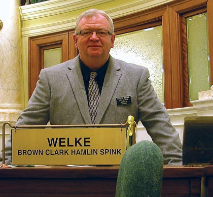 Chuck Welke, Sr. in the state capitol in Pierre.