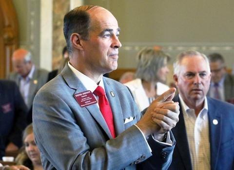 Rep. Steven Johnson, R-Assaria, left, is running for state treasurer.