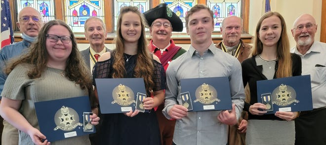 Area students are the recipients of the Great Glades Chapter Sons of American Revolution Good Citizenship Awards for 2021. From left, front row are: Faith Purbaugh, Rockwood; Tara Knopsnyder, Meyersdale; Colby Vinisky, North Star; and Julie Mitchell, Shanksville. Back row: Stew Saylor, president; Everett Sechler, treasurer; William Lehman, secretary; Clark Brocht, chaplain; and Ken Neimiller, new member. Absent from photo are Zachary Krepelka, Berlin; Hannah Dix, Salisbury; Timothy Myers, Somerset; and Abbigail Hair, Turkeyfoot.