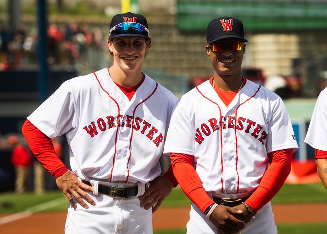 Jarren Duran and Jeter Downs are all smiles during Worcester Red Sox home Opening Day ceremonies last week at Polar Park.