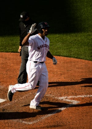 Josh Ockimey's seventh-inning, two-run homer gave WooSox a victory in their first game of any doubleheader.