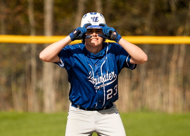 Leominster's Evan McCarthy celebrates a double during the Blue Devils' game against Shrewsbury on Wednesday, May 12.