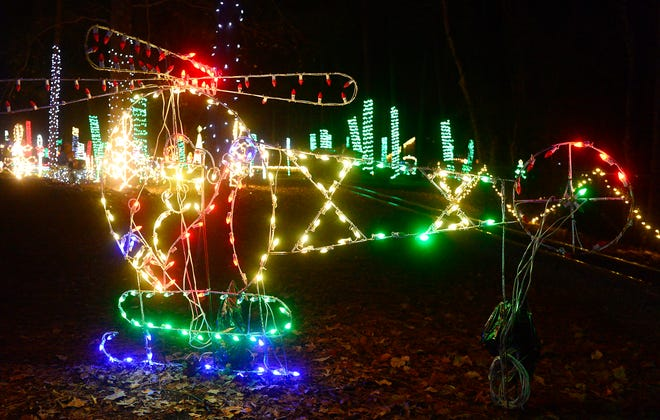 A scene from a past Christmas at the Falls light show at Noccalula Falls Park.