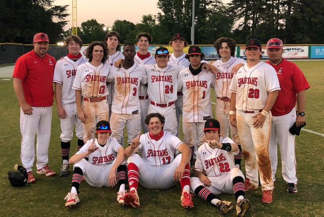 The Burlington School baseball team poses for a photo following an 11-1 victory against Rocky Mount Academy in the semifinals of the NCISAA Class 2-A state tournament.