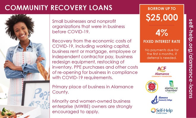 Community Recovery Loans are available. For more information, visit alamancechamber.com/recovery-loan-program.