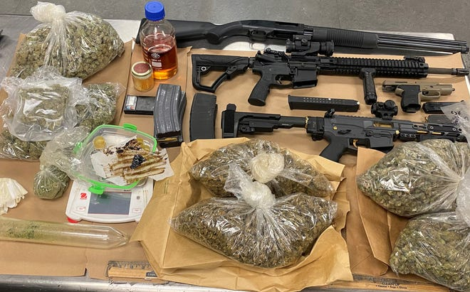 Deputies seized both marijuana and firearms during three search warrants conducted in Hesperia on Friday, May 7, 2021.