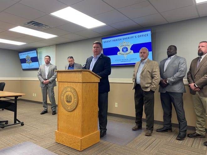Grant Parish Sheriff Steven McCain talks about the arrest of Travis Lee Knighton, a Colfax man accused of sex crimes in both Grant and Rapides parishes. McCain and Sheriff Mark Wood (center) hope more victims will contact investigators to help in the case.