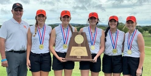 The Robert Lee girls golf team shows off its championship trophy. The Lady Steers won the Class 1A girls golf tournament on Tuesday, May 11, 2021 in Kingsland. Pictured, left to right, are coach Kerry Gartman, Abbi Smith, Braylee Hood, Jade Arens, Mia Galvan and Mackenzie Galicia.