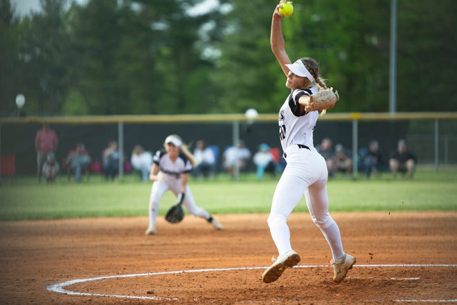 North Buncombe's Karlyn Pickens throws a pitch on May 3, 2021, as the school hosted a playoff game against Cox Mill.  North Buncombe took the win with a final score of 1-0.