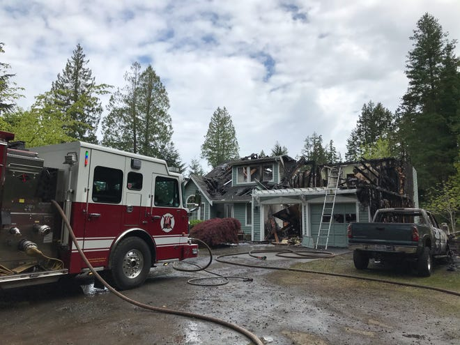 A view of the North Kitsap home burned in a fire on Wednesday morning.
