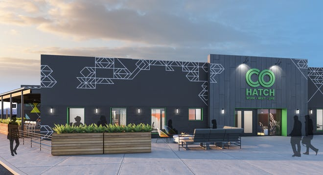 An artist's rendering of a new co-working space opening at Kenwood Towne Centre that will feature sports simulators and food and beer from Columbus-based North High Brewing.