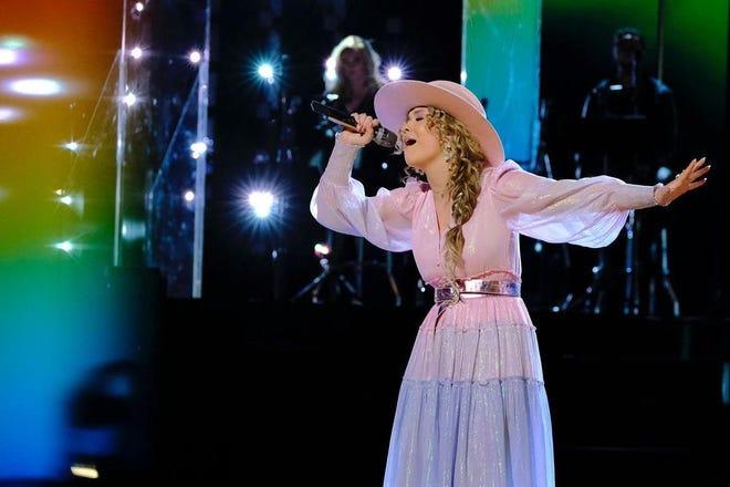 "Rachel Mac performing ""Rainbow"" on NBC's ""The Voice"" on Monday."
