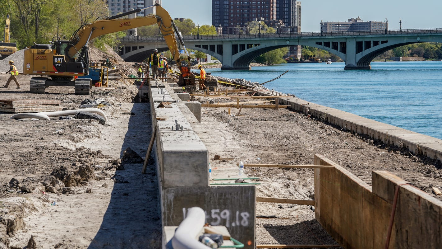 Work begins on Detroit's east Riverwalk, a path expected to connect Ren Cen to Belle Isle
