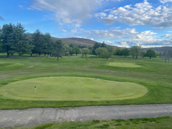 The view from the deck above hole No. 9 at Willowcreek Golf Club in Big Flats on May 11, 2021.