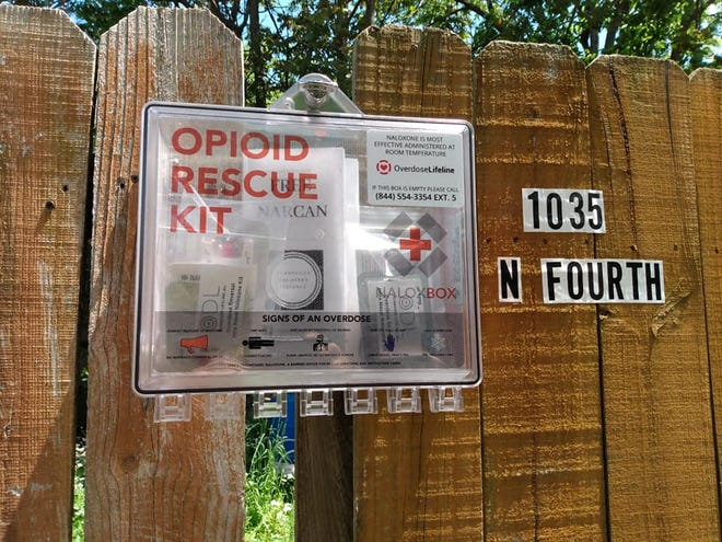 An opioid rescue kit at 1035 North Fourth in Evansville, Indiana.