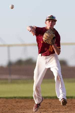 McCutcheon's Payton Fulk (10) throws to first during the sixth inning of an IHSAA baseball game, Tuesday, May 11, 2021 in Oxford.
