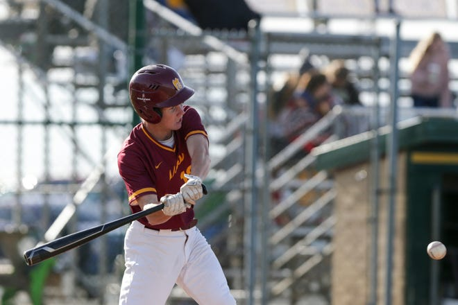 McCutcheon's Jared Stewart (12) bats during the third inning of an IHSAA baseball game, Tuesday, May 11, 2021 in Oxford.