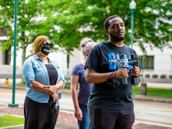 Devon Norman, president of the Village 337, speaks on Wednesday, May 12, 2021, about what the organization's plans are going forward after the district attorney's announcement that a grand jury decided not to indict the officers who fatally shot Trayford Pellerin.