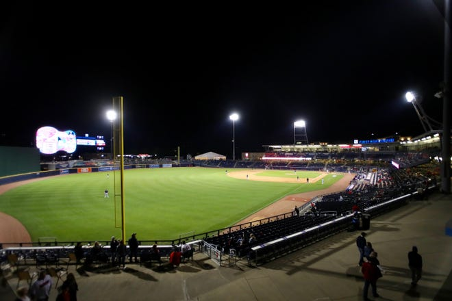 First Horizon Park during the Nashville Sounds' 2021 home opener against the Memphis Redbirds on Tuesday, May 11.