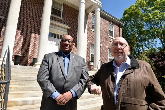 From left, Darryl Greene and Ira Buckman are responsible for persuading the Teaneck Town Council to rename of a section of Van Arsdale Place to The Isley Brothers Way to honor the Rock and Roll Hall of Famers.