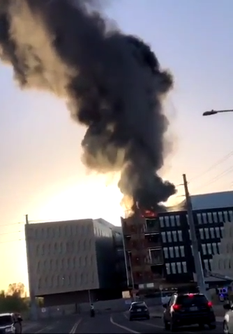 ASU high rise under construction catches fire