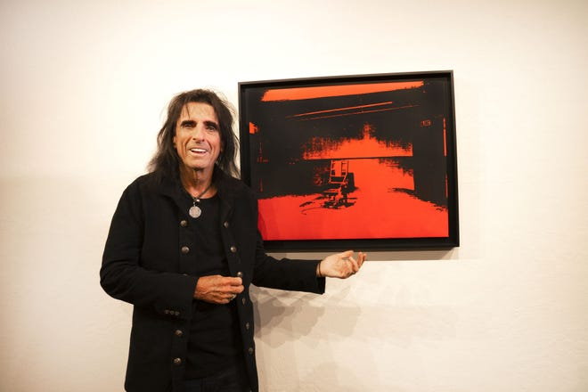 """Rock legend Alice Cooper will auction the red silkscreen on canvas from Andy Warhol's """"Little Electric Chair"""" series. The artwork was recently discovered in a storage locker. Early estimates for the auction range from $2.5 to $4.5 million."""