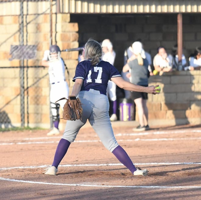 Mason High School's Tara Bolley winds up to deliver a pitch in a softball game at San Saba during the 2021 season.