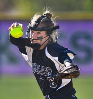 Hallie Hoffarth pitches for AlbanyTuesday, May 11, 2021, at Albany High School.