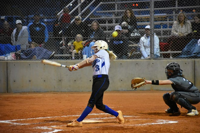 Dixie's Kylee Terrell fouls off a pitch during a game earlier this season.