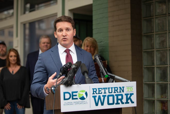"""Florida Department of Economic Opportunity Secretary Dane Eagle speaks during a press conference held to announce the department's new """"Return to Work"""" initiative at Metro Deli in downtown Tallahassee Wednesday, May 12, 2021."""