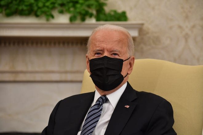 US President Joe Biden meets with members of Congressional Leadership to discuss policy areas of mutual agreement, in the Oval Office of the White House in Washington, DC, on May 12, 2021.