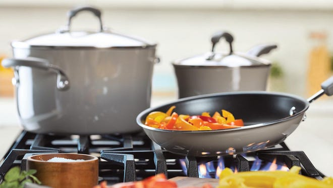 Macy's boasts about the durability and style of these Rachael Ray pots and pans.