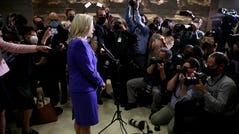 May 12, 2021: Rep. Liz Cheney (R-WY) speaks to members of the media after she was removed of her leadership role as Conference Chair, following a Republican House caucus meeting at the U.S. Capitol in Washington, DC. GOP members removed Conference Chair Liz Cheney (R-WY) from her leadership position after she became a target of former President Donald Trump and his followers in the House as she has continually expressed the need for the Republican Party to separate themselves from Trump over his role in the January 6 attack on the Capitol.