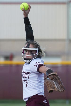 Walsh Jesuit starting pitcher Natalie Susa threw a five-inning no-hitter in a 10-0 win over Kent Roosevelt in a Division I sectional softball final Wednesday. [Mike Cardew/Beacon Journal]