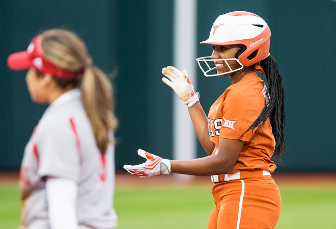 Where it all began for Texas' Janae Jefferson: an RBI hit against Incarnate Word on Feb. 9, 2018, the first game of her college career. She had two hits in that game. Three years later, she has 255 career hits and is UT's all-time leader.