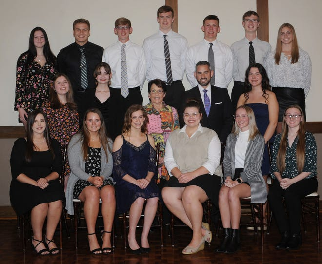 West Branch High School recognized the Outstanding Academic Scholars for the class of 2021 during a banquet Wednesday May 12, 2021. Pictured, front row from left, Rylee Milat, Hannah Schubert, Alaya Kiser, Macey Stancato, Gabby Harrison and Danny Harrison. Middle row from left, Olivia Buehler, Abigail Stephens, Arlene Bruderly, Kurt Bruderly and Grace Weingart. Back row from left, Alexis Faudree, Kenny Marra, Justin Cederbloom, Andrew Coffee, Brock Smith, James Cranston and Jordan Anderson.