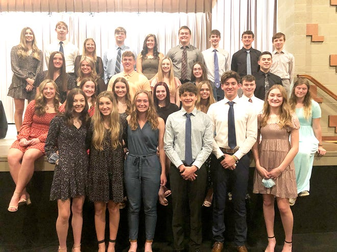 Marlington High School recently inducted students to its National Honor Society. Members who were inducted are, front row from left, Ashley Closky, Jayden Mitchell, Alison Landon, Lance Beachy, Connor Evanich and Brianna Kurtz; second row from left, Alexis Sabatino, Ariana Painter, Andrea Dager, Hailey Confalone, Taryn Hosick, Michael Stauffer and Taylor Maurer; third row from left, Jillian Fellers, Mallory Bennett, Evan Bland, Rachel Sivy, Ella Wright and Logan Waite; and, back row from left, Madison Wade, Aiden Trummer, Jillian Perduk, Konnor Jackson, Lauren Keithley, Walter Bungard, Ethan Weisent, Noah Graham and Alec Goodwin.