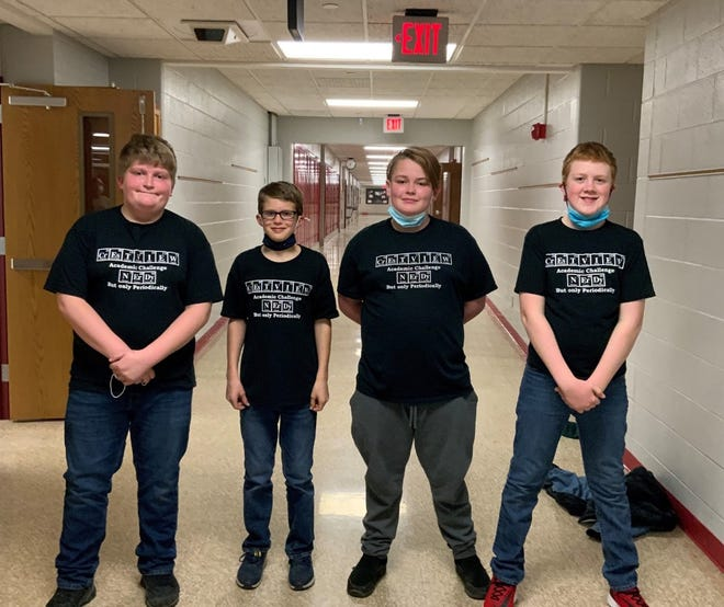 Team members of the second-place sixth-grade Crestview Academic Challenge team are, from left, Hudson Stacy, Drew Ramsey, Jess Ames and Wyatt Love.