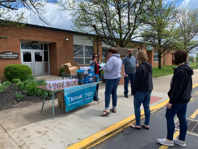 Lauren Brown, left, financial representative for Modern Woodmen of America, passes out appreciation gifts to Crestview Local Schools staff.