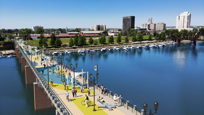 This artist's rendering envisions Augusta's Fifth Street Bridge changed into a linear pedestrian park, as seen from the South Carolina side of the Savanah River.
