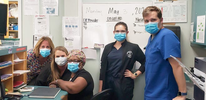 Alice Thomas LPN, Christi Guhl LPN, Hattie Brannen RN, Lacey (student) and Bobby Sikes PA-C in ER