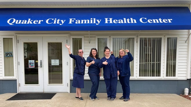 Staff at the Quaker City Family Health Center celebrating success of FAO and Cause Connector Funding, l to r, Jeanne Jellison, RN, clinic coordinator; Staci Fellows, NP-C, Family Nurse Practitioner; Cortney Oliver, front desk; and Kim Masters, LPN.