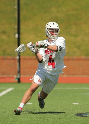 Ian Crosby, of Yarmouth Port, co-captain of the Denison University lacrosse team, has scored 11 goals and 2 assists on 27 shots so far this season, leading the NCAA Division III squad to an 8-1 record going into Thursday. [Jace Delgado for Denison Athletics Communications]