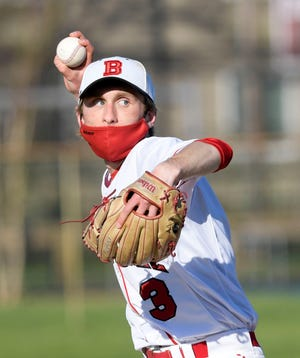 Barnstable pitcher Casey Proto, seen here earlier this season, threw a six-inning no-hitter to lead the Red Hawks to victory over Dennis-Yarmouth on Wednesday.