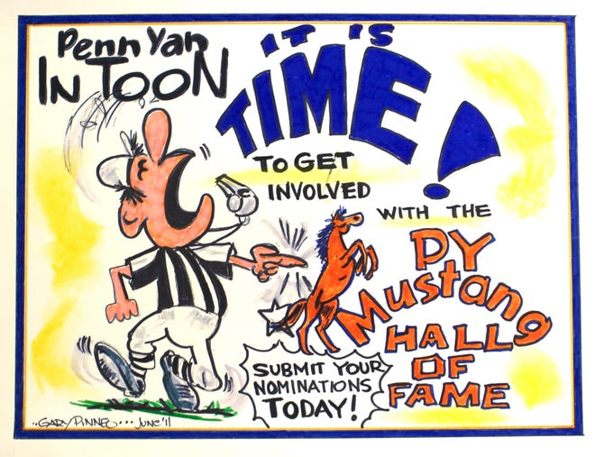 A cartoon drawn by The Chronicle-Express' late cartoonist, Gary Pinneo, whose talents and devotion to local sports were integral to the founding and success of the Penn Yan Academy Athletic Hall of Fame.