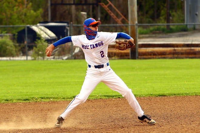 Penn Yan's third baseman # 2 Brady Bouchard fields a ground ball and pops up to throw the Wayne runner out at first.
