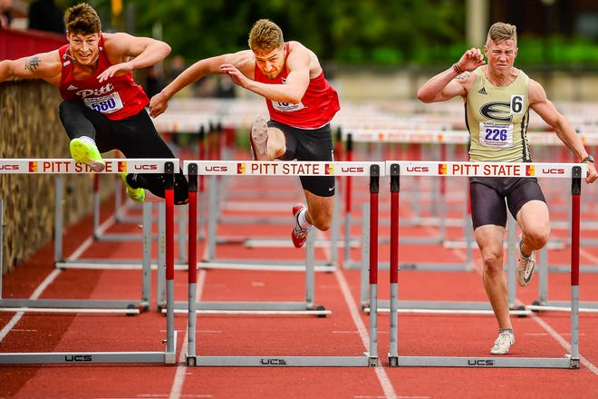Brett Shaffer, 2018 Chillicothe High School graduate, competes (center) for the University of Central Missouri in the 110-meters high hurdles during last weekend's MIAA Championships at Pittsburg, Kan. Shaffer medaled in both the high and intermediate hurdles and could be headed on to the NCAA Division II national meet in the highs soon.