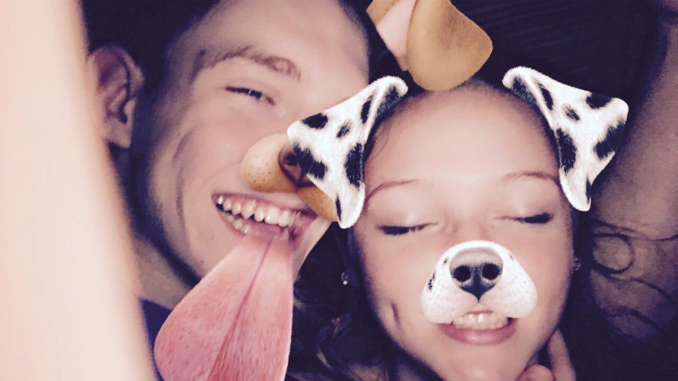 Collin Wiant with his high-school girlfriend, Brinley Zieg.