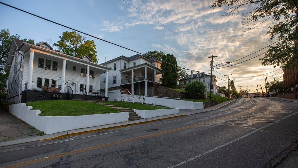 The unofficial  Sigma Pi annex sits quietly at 45 Mill St. on May 15, 2019 in Athens, Ohio.