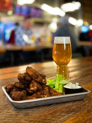 Crisp on the outside and moist on the inside wings at Saucy Brew Works.